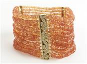 Citrine Gold-Diamond & Stone Bracelet 120 Diamonds 1.20 Carat T.W.